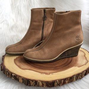 Timberland side zip leather wedge booties